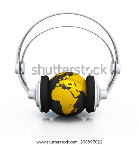 Earth with headphones - gold black
