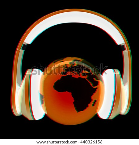 earth with headphones. World music concept isolated on a black background. 3D illustration. Anaglyph. View with red/cyan glasses to see in 3D. - stock photo