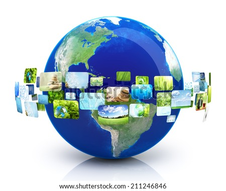 Earth with images - stock photo