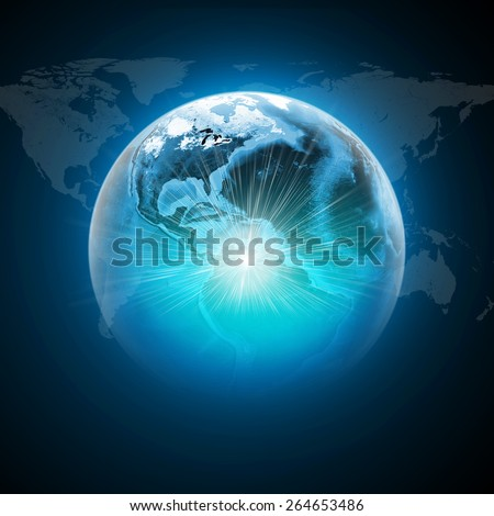 Earth with light and world map on dark blue background. Elements of this image furnished by NASA - stock photo