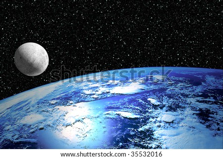 Earth with Moon and Stars - stock photo