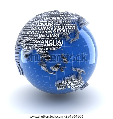 Earth with names of major cities in the world, 3d render - stock photo