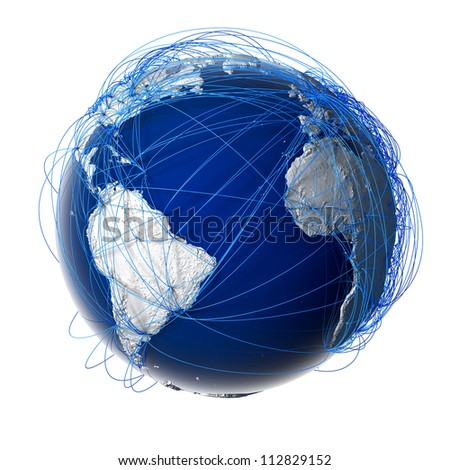 Earth with relief stylized continents surrounded by a wired network, symbolizing the world aviation traffic, which is based on real data. Elements of this image furnished by NASA. Isolated on white - stock photo