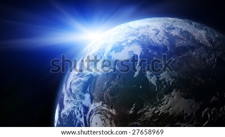 Earth with Rising Sun illustration. Copy space for your text - stock photo