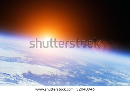 Earth with rising Sun outer illustration - stock photo