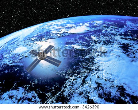 Earth with Satellite in high Orbit with star scape background