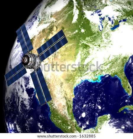 Earth with Satellite in Orbit - USA - stock photo