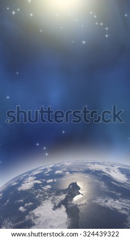 Earth with starry background. Elements of this image furnished by NASA.