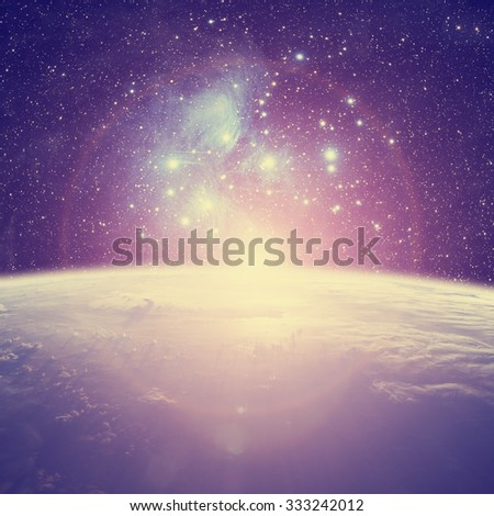 Earth with starry background. Elements of this image furnished by NASA. - stock photo