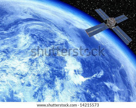 Earth with Stars backdrop and satellite - stock photo