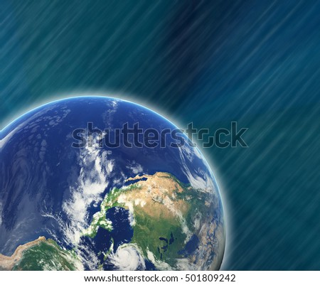 Earth with stars in movement. Photo of Earth furnished by NASA