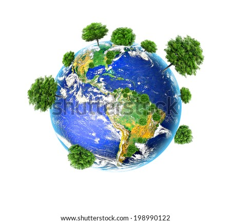 Earth with the different elements on its surface. Environmental Concept. Best Internet Concept of global business from concepts series - stock photo