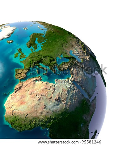 Earth with translucent water in the oceans and the detailed topography of the continents. A fragment of the Earth, with Europe and Africa. Isolated on white