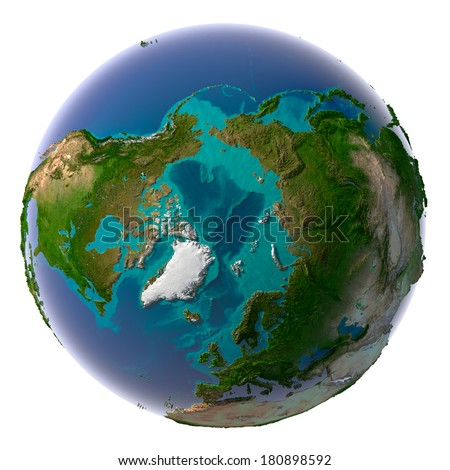 Earth with translucent water in the oceans and the detailed topography of the continents. Arctic - stock photo