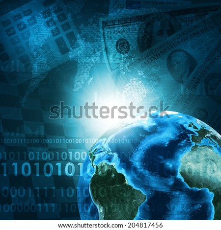 Earth, world map and calculator on money background. Business concept. Elements of this image are furnished by NASA - stock photo