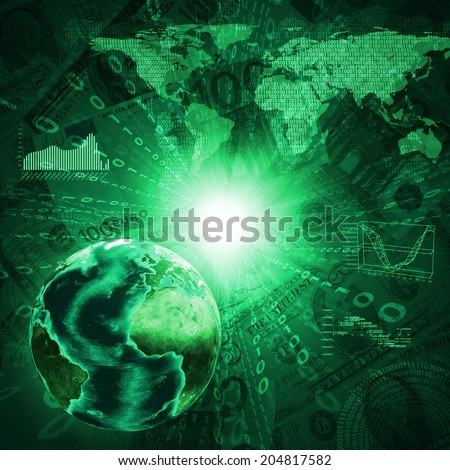 Earth, world map and graphs on money background. Business concept. Elements of this image are furnished by NASA