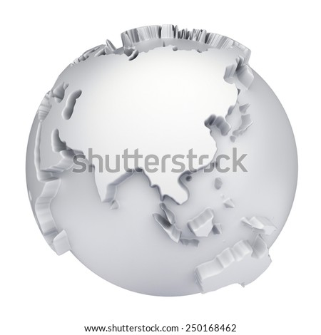 Earth world map. Asia and Australia on a planet globe. 3d concept illustration