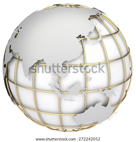 Earth world map.Australia and Asia on a planet globe - stock photo