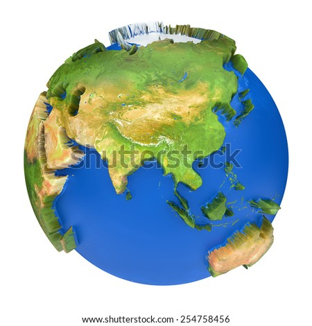 Earth world map.Australia and Asia on a planet globe. 3d concept illustration - stock photo