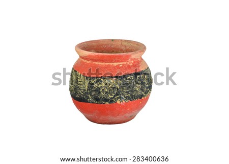earthenware isolated on white background. - stock photo