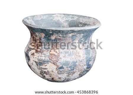earthenware isolated on white background - stock photo