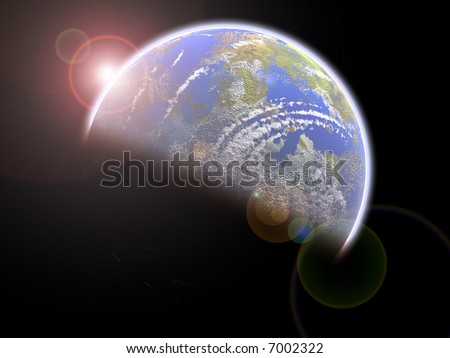 Earthlike Blue planet - stock photo