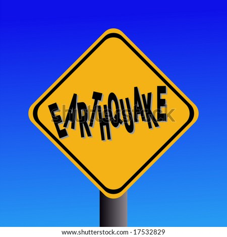 earthquake hazard sign on blue sky illustration JPEG - stock photo