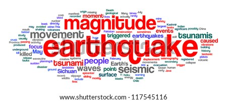 Earthquake related word in tag cloud. White background. - stock photo