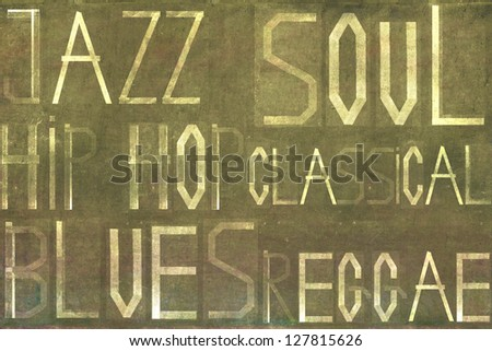 Earthy background image and design element depicting different musical idioms - stock photo
