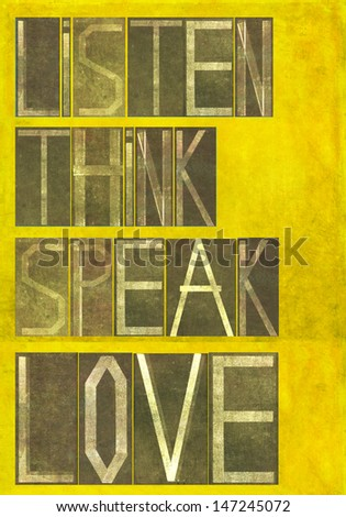 """Earthy background image and design element depicting the words """"Listen Think Speak Love"""" - stock photo"""