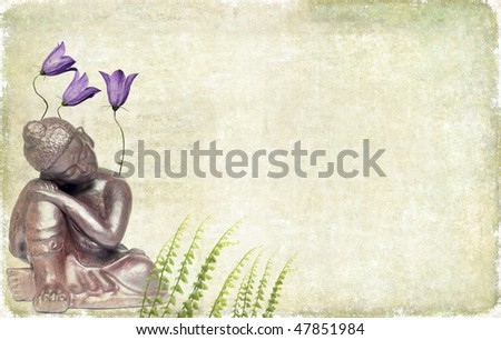 earthy background image with buddha and floral elements