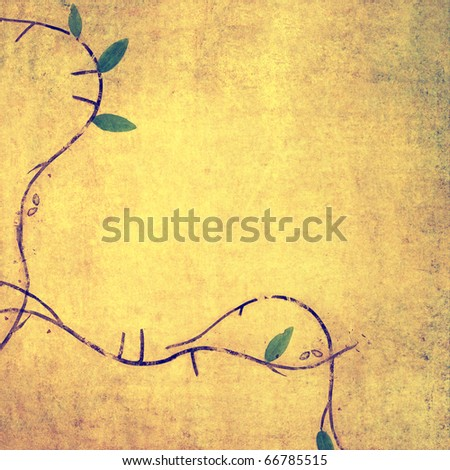 earthy background image with floral elements - stock photo