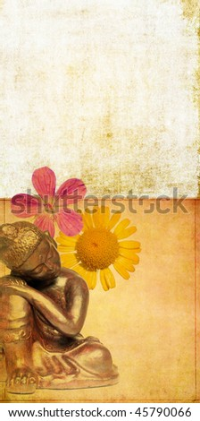 earthy background image with floral elements and buddha - stock photo