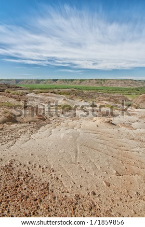 Earthy textures of the Canadian badlands in Drumheller Canada. - stock photo