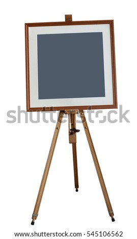 easel isolated on white background. Wooden easel with blank canvas