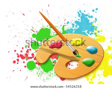 easel - paint palette and stains of paint splashes - stock photo