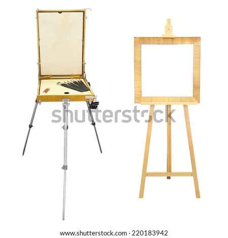 easel under the white background