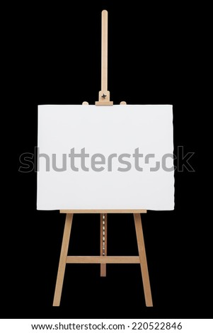 easel whit empty canvas isolated. - stock photo