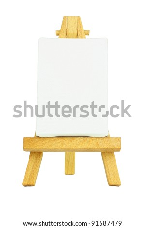 Easel with a blank canvas to be used for text and other purposes by the designer