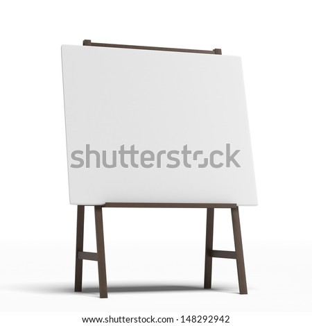 Easel with a blank sheet of white paper - stock photo
