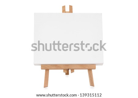 Easel with white canvas - isolated - stock photo