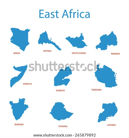 east africa - maps of territories - stock photo