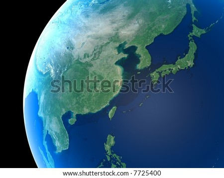 East Asia as seen from space - stock photo