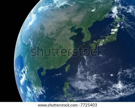East Asia as seen from space with cloud formations - stock photo