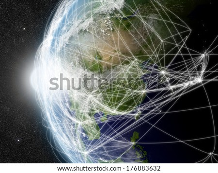 East Asia region with network representing major air traffic routes. Elements of this image furnished by NASA. - stock photo