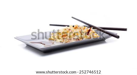 East basmati rice, scrambled with bacon - stock photo