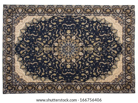 East carpet from wool and silk on a white background - stock photo