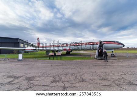 EAST FORTUNE, SCOTLAND - JANUARY 31: De Havilland Comet 4C in Dan Air livery on January 31, 2015 in East Fortune, Scotland. - stock photo