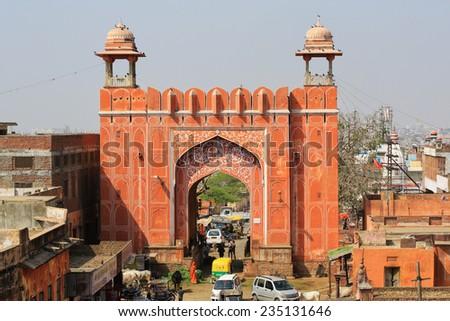 East gate, Pink City, Jaipur, India - stock photo