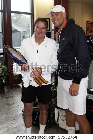 EAST HAMPTON - AUGUST 22: Jimmy Connors and Luke Jensen attend the Charles Evans PCF Pro-Am Tour benefiting the Prostate Cancer Foundation at the Ross School Tennis Facility on August 22, 2010 in East Hampton, NY.